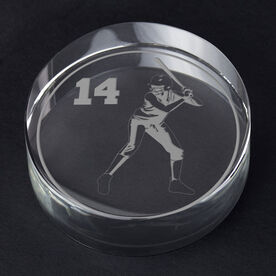 Softball Personalized Engraved Crystal Gift - Personalized Silhouette (Batter)