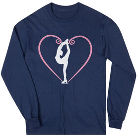 Figure Skating Long Sleeve Tee - Heart Skater