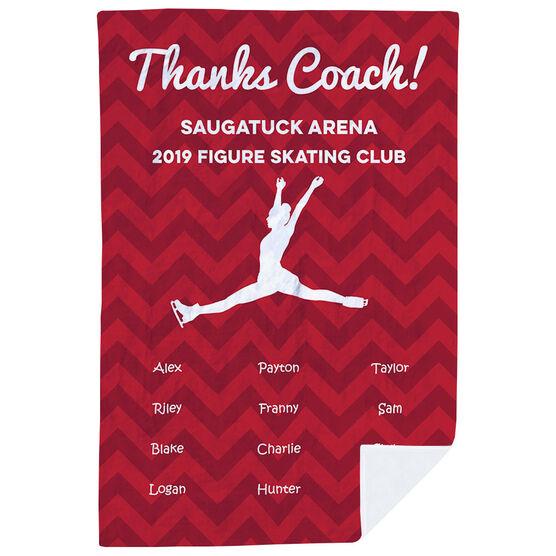 Figure Skating Premium Blanket - Personalized Thanks Coach Chevron