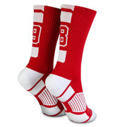 Team Number Woven Mid-Calf Socks - Red