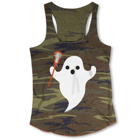 Girls Lacrosse Camouflage Racerback Tank Top - Ghost with Lacrosse Stick