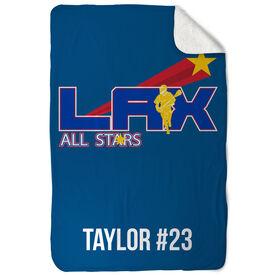 Guys Lacrosse Sherpa Fleece Blanket Custom Team Logo