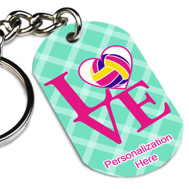 Volleyball Printed Dog Tag Keychain Love Volleyball