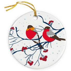 Porcelain Ornament - Robins in Winter