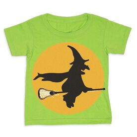 Girls Lacrosse Toddler Short Sleeve Tee - Witch Riding Lacrosse Stick