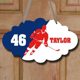 Hockey Cloud Room Sign Personalized Hockey Silhouette