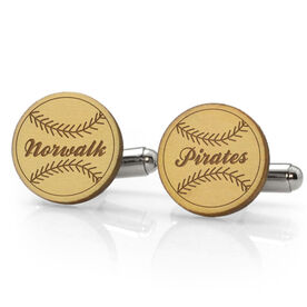 Baseball Engraved Wood Cufflinks Team Name With Stitches