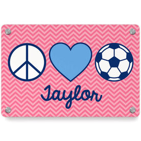 Soccer Metal Wall Art Panel - Personalized Peace Love Soccer Chevron