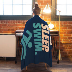 Swimming Premium Blanket - Eat. Sleep. Swim. Vertical