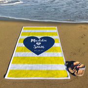 Personalized Premium Beach Towel - Love Our Chic Heart Text