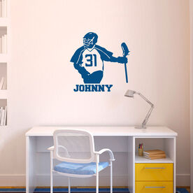Guys Lacrosse Removable ChalkTalkGraphix Wall Decal - Personalized Half Player Silhouette