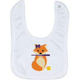 Softball Baby Bib - Softball Fox