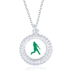 Baseball Braided Circle Necklace - Batter Silhouette