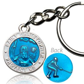 St. Christopher Hockey Player Guardian Medal Keychain (2.3cm)