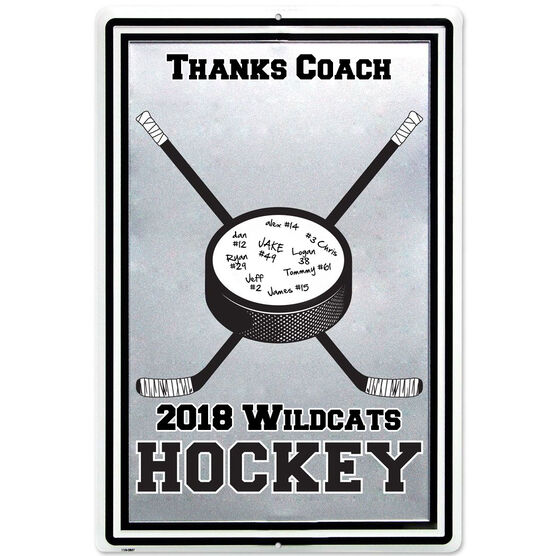 "Personalized Hockey COACH Stick and Puck Aluminum Room Sign (18"" X 12"")"