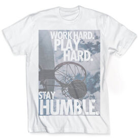 Vintage Basketball T-Shirt - Work Hard Play Hard Stay Humble
