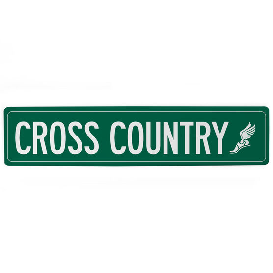 """Cross Country Aluminum Room Sign - Cross Country Winged Foot (4""""x18"""")"""