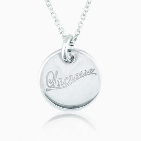 Sterling Silver Lacrosse Script Engraved 20mm Pendant Necklace