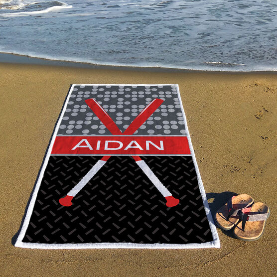 Baseball Premium Beach Towel - Personalized 2 Tier Patterns with Crossed Bats