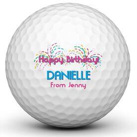 Happy Birthday Fireworks Golf Balls