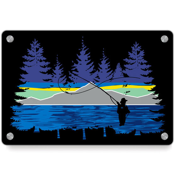 Fly Fishing Metal Wall Art Panel - Pond Fishing In The Woods
