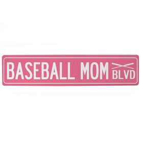 "Baseball Aluminum Room Sign - Baseball Mom Blvd (4""x18"")"