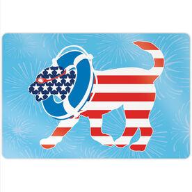 """Swimming 18"""" X 12"""" Aluminum Room Sign - Patriotic Finn The Swim Dog"""