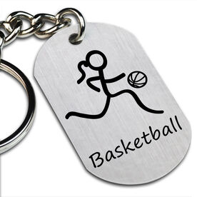 Basketball Girl (Stick Figure) Printed Dog Tag Keychain
