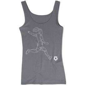 Soccer Women's Athletic Tank Top - Soccer Girl Player Sketch