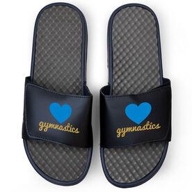Gymnastics Navy Slide Sandals - Heart with Glitter Gymnastics