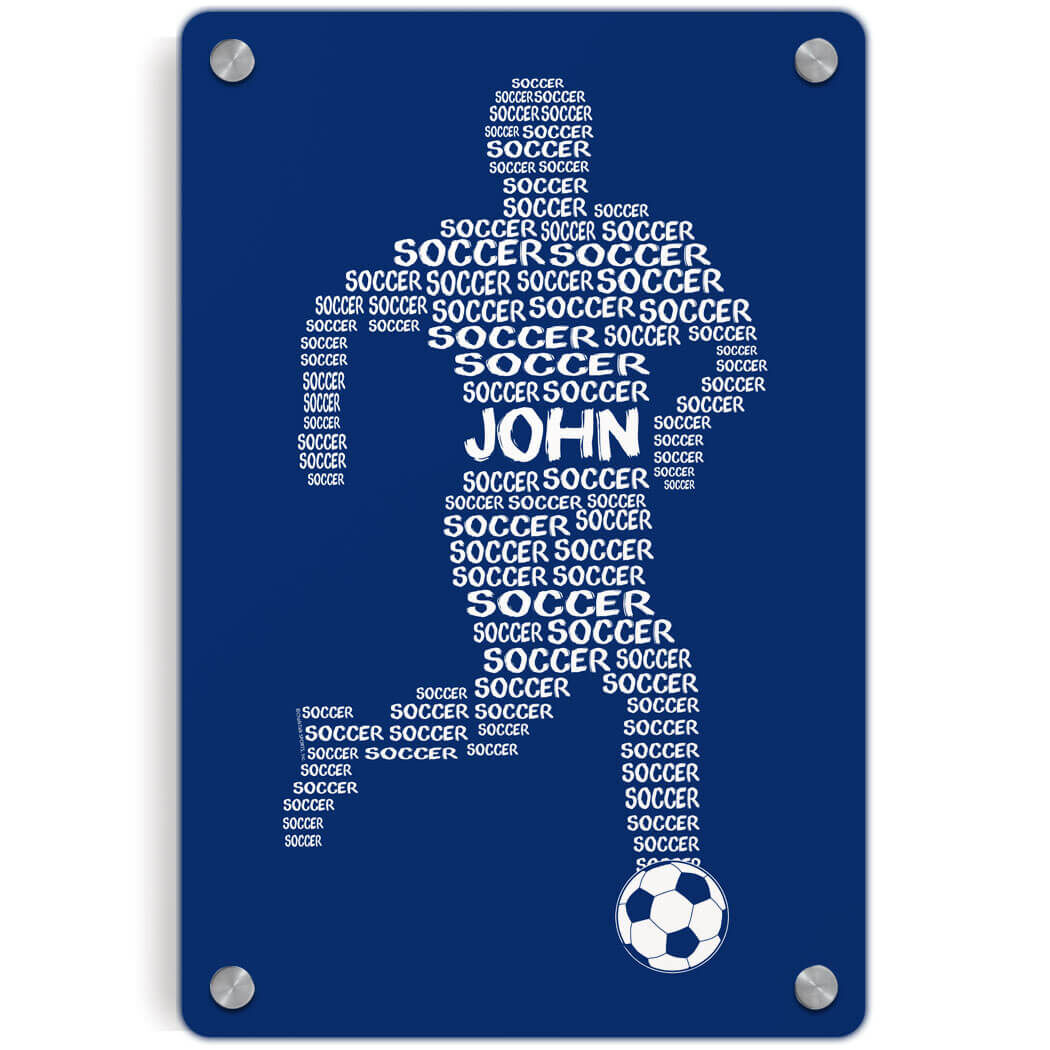 Soccer Metal Wall Art Panel   Personalized Soccer Words Male