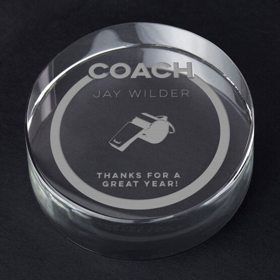 Images. Personalized Engraved Crystal Gift - Coach Whistle