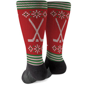 Hockey Printed Mid-Calf Socks - Christmas Knit