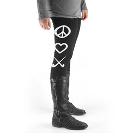 Field Hockey High Print Leggings Peace Love Field Hockey
