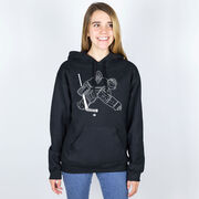 Hockey Hooded Sweatshirt - Hockey Goalie Sketch