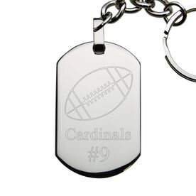 Football Engraved Stainless Steel Dog Tag Keychain