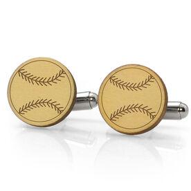 Baseball Engraved Wood Cufflinks