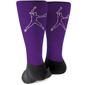 Softball Printed Mid-Calf Socks - Pitcher