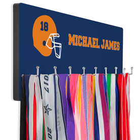 Football Hooked on Medals Hanger - Personalized Text With Helmet