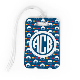 Swimming Bag/Luggage Tag - Personalized Swimming Pattern Monogram