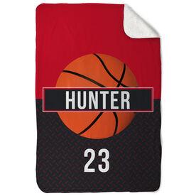 Basketball Sherpa Fleece Blanket - Personalized With Stripe