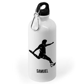 Soccer 20 oz. Stainless Steel Water Bottle - Soccer Male Player Silhouette