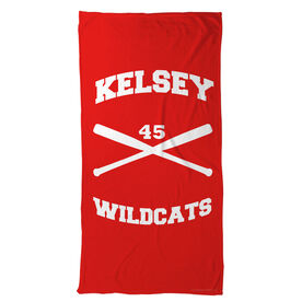 Softball Beach Towel Personalized Crossed Bats