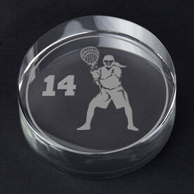 Girls Lacrosse Personalized Engraved Crystal Gift - Personalized Silhouette (Goalie)