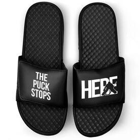 Hockey Black Slide Sandals - Puck Stops Here