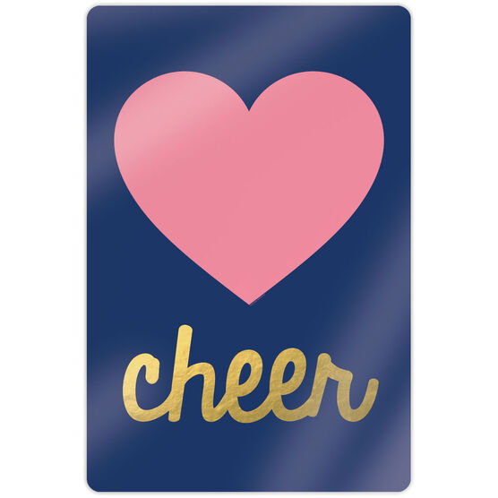 """Cheerleading 18"""" X 12"""" Aluminum Room Sign - Heart With Gold"""