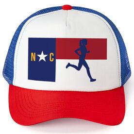 Running Trucker Hat - North Carolina Flag Female Runner