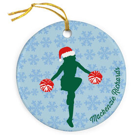 Cheerleading Porcelain Ornament Cheerleader Silhouette With Santa Hat