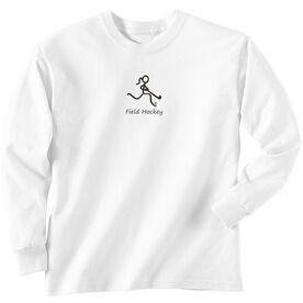 Field Hockey Tshirt Long Sleeve Field Hockey Girl Black Stick Figure with Word