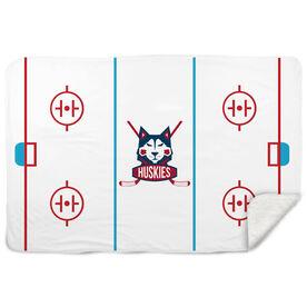 Hockey Sherpa Fleece Blanket - Rink and Logo